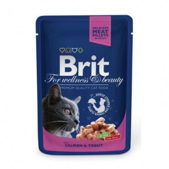 BRIT Premium cat Kapsička Adult Salmon & Trout 48 x 100 g