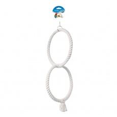 DUVO+ Hojdačka pre papagáje - 2 kruhy,50 cm, biela
