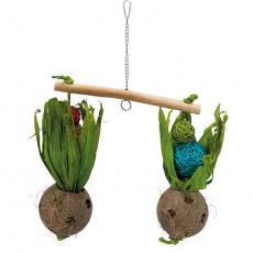 Hračka závěsná houpačka s kokosovými ořechy 30 x 50 cm