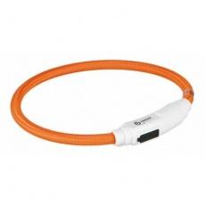 Svítící kroužek USB na krk pro kočky 35 cm/7 mm, oranžová - DOPRODEJ