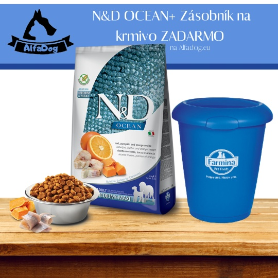 N&D Dog Ocean Adult Medium & Maxi Codfish & Pumpkin & Orange 12 kg + Zásobník na krmivo ZADARMO