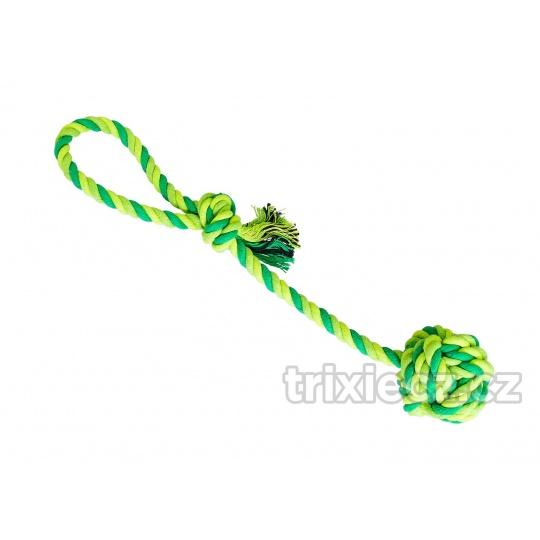 HipHop Preťahovadlo bavlnená lopta  7 cm, 38 cm / 130 g sv.zelená, tm.zelená, khaki