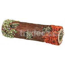 Drevenný tunel se senom a kvetmi ibišteku, mrkvou a hráškom 9 x 30 cm, 35 g