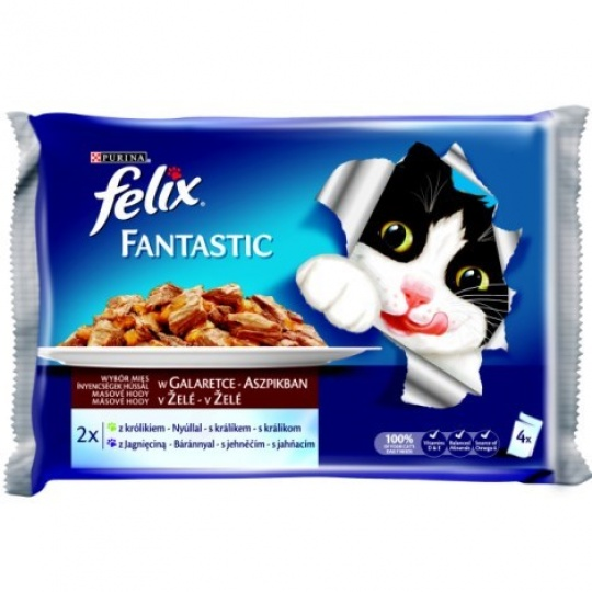 Felix Fantastic multipack s králikom a  jahňacím v želé 4 x 100 g