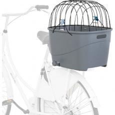 Plastový košík na zadní nosič, s mřížkovou střechou, 36x47x46cm, šedý