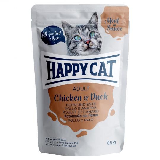 Happy Cat Adult Meat in Sauce Kapsička Kurča & Kačica 48 x 85 g