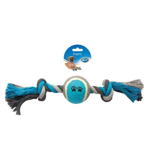 Hračka DUVO+ Lano s 2 uzlami a tenisovou loptou na ťahanie bavlna 40 cm