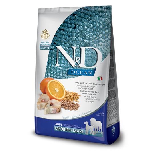 N&D Dog Ocean Adult Medium & Maxi Codfish & Orange 12 kg