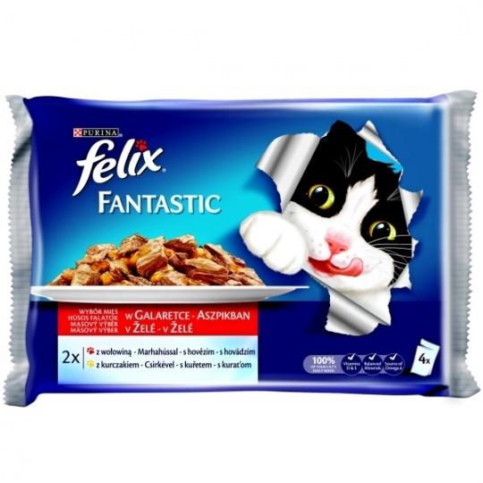 Felix Fantastic multipack s hovädzím a kuraťom v želé 4x100 g