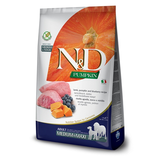 N&D Dog Pumpkin Adult Medium & Maxi Lamb & Blueberry 12kg