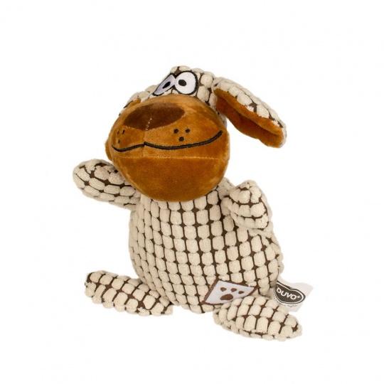 Hračka DUVO+ Plyšový chlpatý pes s plochými ušami, pískajúci 26cm