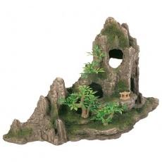 Dekorace skála + jeskyň a rostliny 27cm - DOPRODEJ