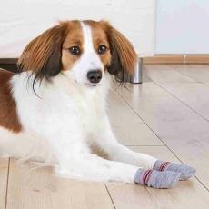 Protiskluzové šedé ponožky, 2 ks pro psy XXS-XS (jorkšír)