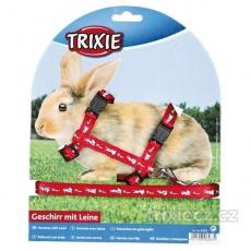 TRIXIE Nylon. postroj s vodítkom na králíka - motiv 25-44/1cm 1,25m