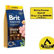 Brit Premium by Nature Adult M 15 kg + 3 kg ZADARMO