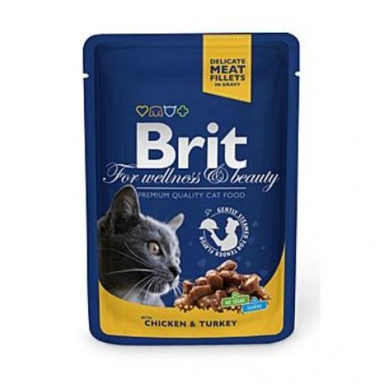 BRIT Premium cat Kapsička Adult Chicken & Turkey 48 x 100 g
