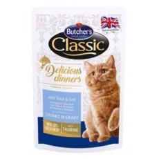 Butcher's Cat Class.Delic.Dinn.pstruh+treska kapsa100g
