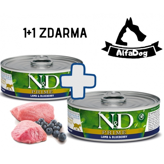 N&D CAT PRIME Adult Lamb & Blueberry 80g 1 + 1 ZDARMA