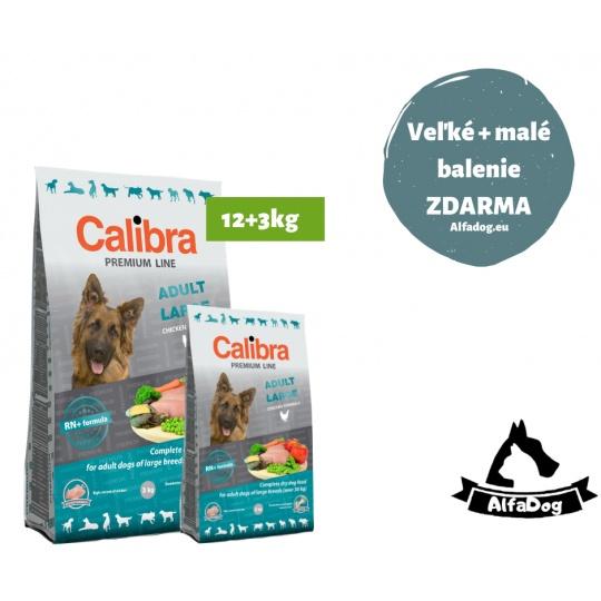Calibra Premium  Adult Large 12 kg  + 3 kg ZDARMA