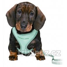 TRIXIE JUNIOR puppy súprava, mäkký postroj 26-34cm/10mm + vodítko 2,00m/10mm  v rôznych farbách