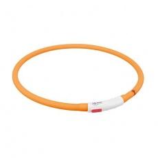 Flash USB svítící obojek XS-XL 70 cm / 10 mm,  - oranžová (RP 2,10 Kč)