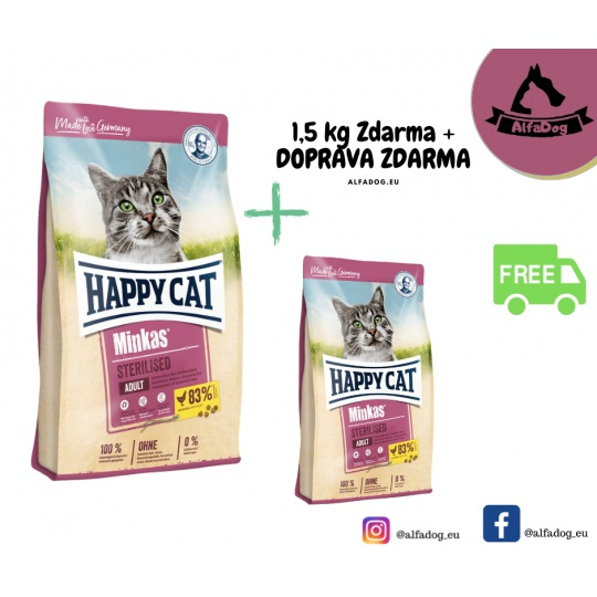 Happy Cat Minkas Sterilised Geflügel  10 kg + DOPRAVA ZDARMA