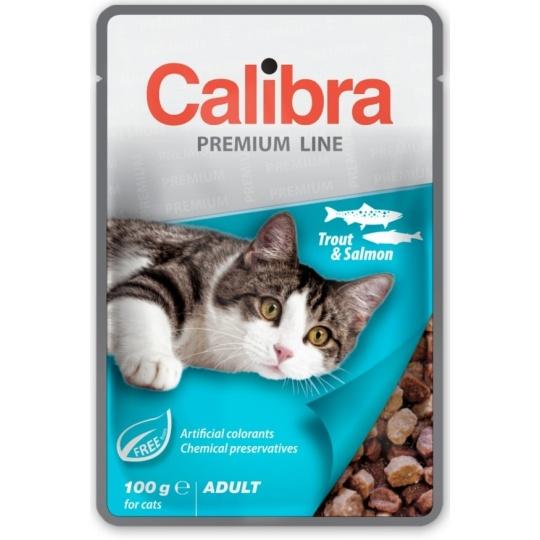 Calibra KAPSIČKA Premium cat Adult Pstruh & losos v omáčke 24 x 100 g