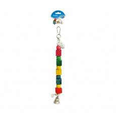 DUVO+ lano pre vtáky s drev.kockami a zvoncom 35 cm