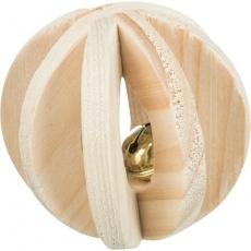 Dřevěný lamelový míček s rolničkou, ø 6 cm