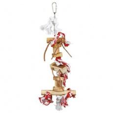 Závěsná dřevěná hračka špalíky s uzlíky a koženými šňůrkami