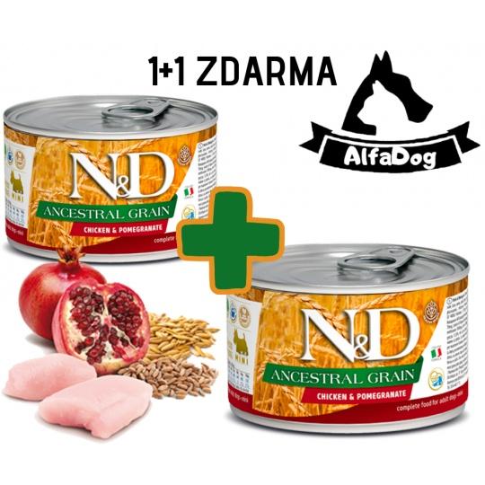N&D Dog Low Grain Adult Chicken & Pomegranate Mini  140 g  1 + 1 ZDARMA