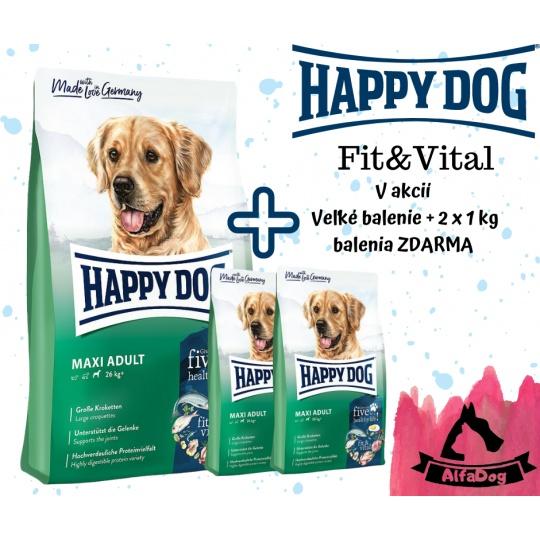 Happy Dog Fit & Vital ADULT Maxi 15 kg + 2 x 1 kg  ZDARMA + DOPRAVA ZDARMA
