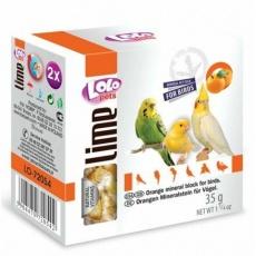 LOLOpets LIME pomerančový minerální kámen pro ptáky 35 g