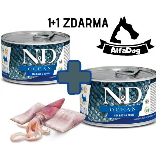 N&D Dog Ocean Adult Seabass & Squid 140g 1 + 1 ZDARMA