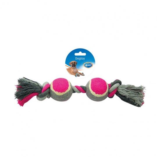 Hračka DUVO+ Lano s 2 uzlami a tenisovými loptami na ťahanie bavlna 33 cm