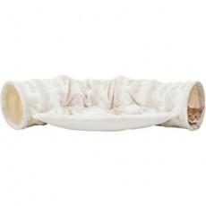 Plyšový tunel pro kočky NELLI s prostorem pro ležení,  55 x 27 x 116 cm, bílá/krémová