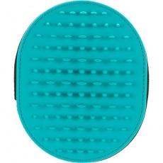 Masážní kartáč, ovál na ruku, polyester/silikon/TPR, 11x14cm