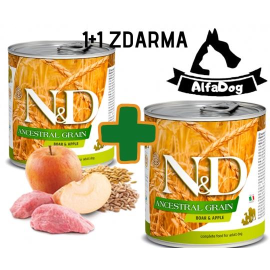 N&D Dog Low Grain Adult Boar & Apple 285 g 1 + 1 ZDARMA