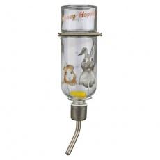 Skleněná napáječka Honey & Hopper s kovovým pítkem pro morčata  250 ml