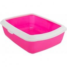 CLASSIC toaleta pro kočky, s okrajem, 37 x 15 x 47 cm, růžová/bílá