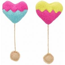HEART - srdce, šustící hračka pro kočky s katnipem, 8 cm/18 cm, plsť/juta