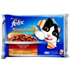 Felix Sensations Cat  Multipack Hovädzie s paradajkou & Kura s mrkvou 48 x 100 g