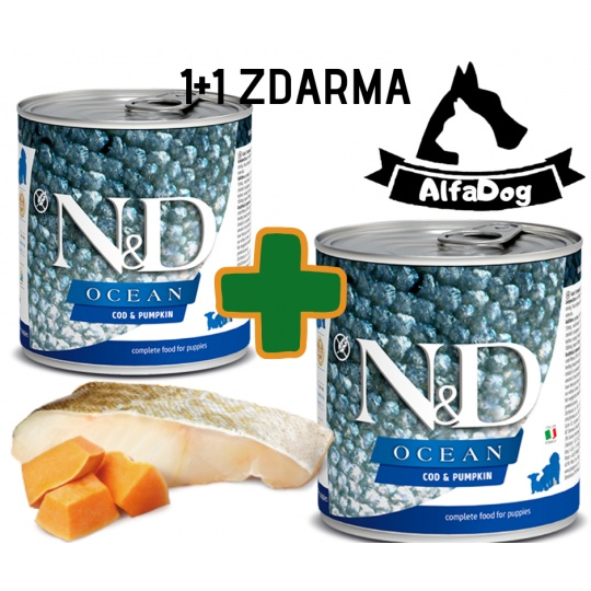 N&D Dog Ocean Adult Codfish & Pumpkin Mini 285g 1 + 1 ZDARMA