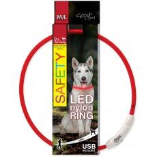 DOG FANTASY svetelný USB červený 65cm