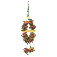 Závěsná hračka na sisalovém laně - karton,dřevo 18 x 35 cm