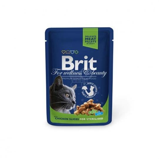 BRIT Premium cat Kapsička Sterilised Chicken Slice 48 x 100 g