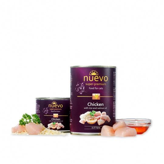 Nuevo Cat Kitten Kuracie mäso s ryžou a lososovým olejom konzerva 400 g