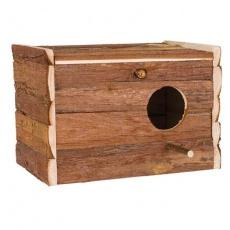 Hnízdící budka z přírodního dřeva pro korely 30x20x20 cm