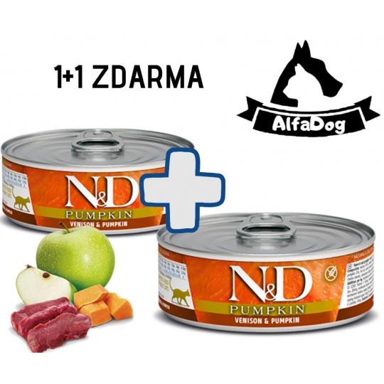 N&D CAT PUMPKIN Adult Venison & Pumpkin 80g 1 + 1 ZDARMA