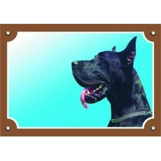 Barevná cedulka Pozor pes, Doga černá